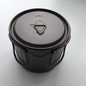 titanium cook pot for camp stove cooking
