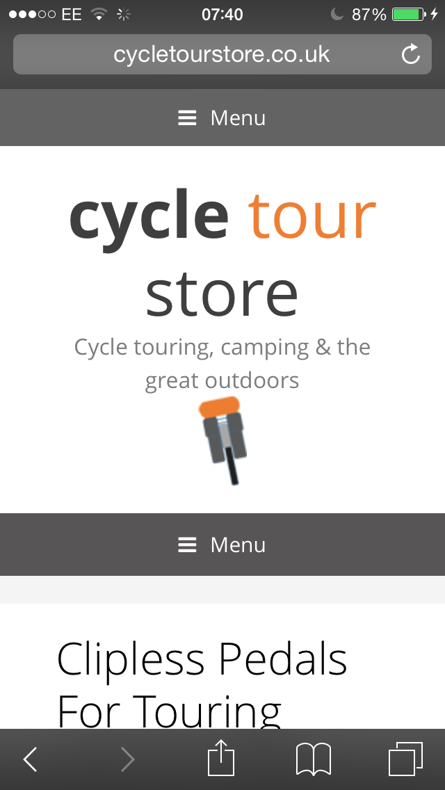 portrait mobile view from iphone of www.cycletourstore.co.uk