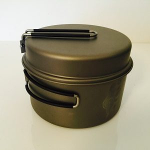 large titanium pot with frying pan lid