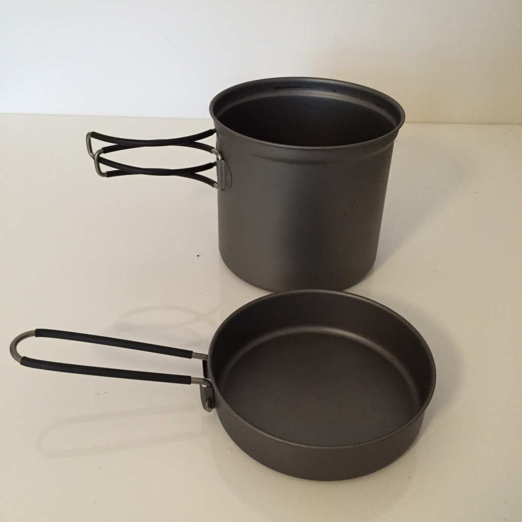 large titanium cookset ideal for two persons