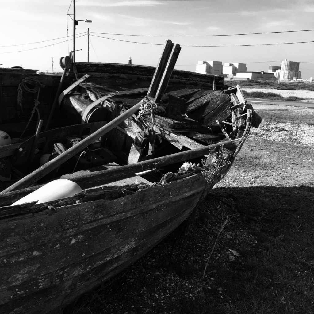 photography dungeness black and white fishing boats and power station