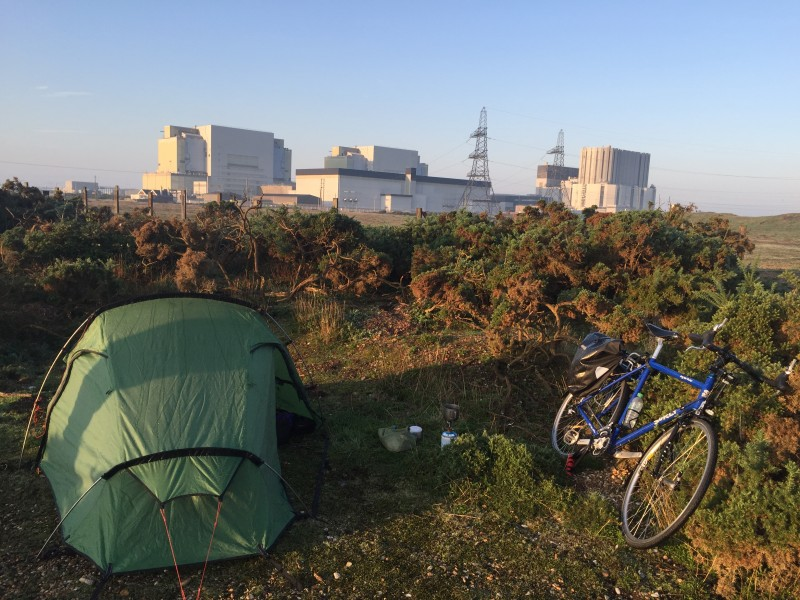 wild camping and cycle touring around a power station