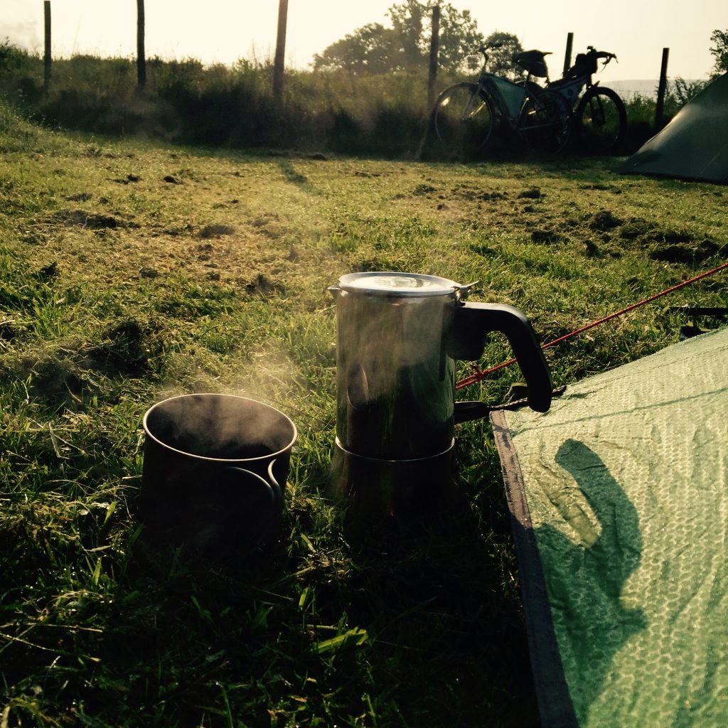 Cycle touring festival 2016 morning coffe by the tent