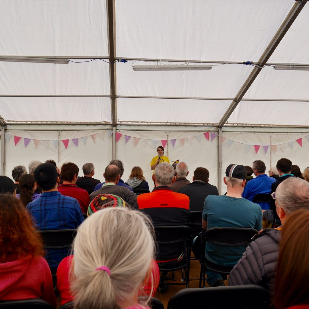 Laura Moss Cycle Touring Festival organiser gives one of the many excellent talks over the weekend