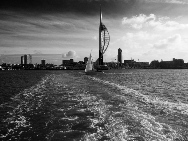 The Spinnaker tower & Portsmouth Harbour photographed whilst cycle touring to the new forest