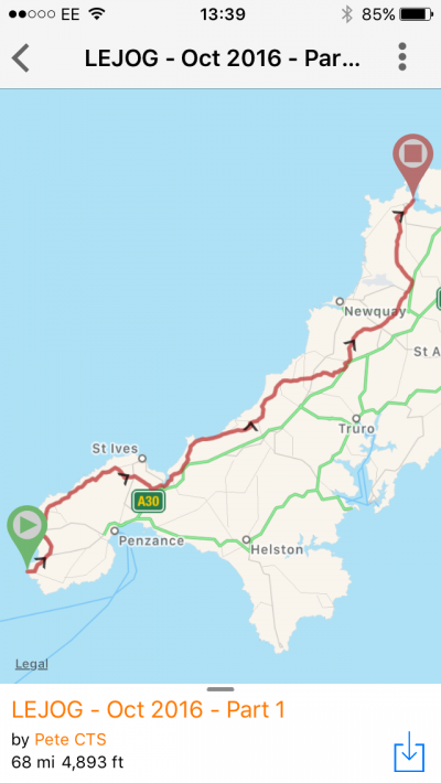 Cycle touring Lands End to John'O'Groats using the ride with GPS iphone app