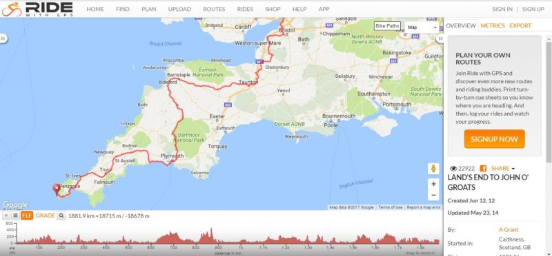 Planning plotting a route from Lands End to John'O'Groats for cycle touring